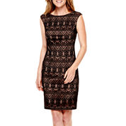 Black Label by Evan-Picone Sleeveless Lace Sheath Dress