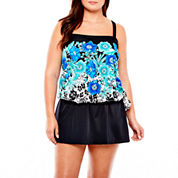 Azul by Maxine of Hollywood Bandeau Blouson Swim Top or Skirted Bottoms - Plus