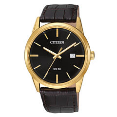 Citizen Quartz Mens Brown Strap Watch-Bi5002-06e