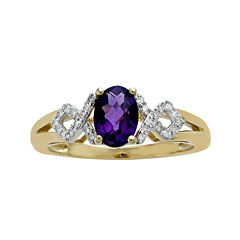 Genuine Amethyst and Diamond-Accent 10K Yellow Gold Crisscross Ring