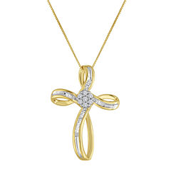 1/4 CT. T.W. Diamond 10K Yellow Gold Cross Pendant Necklace