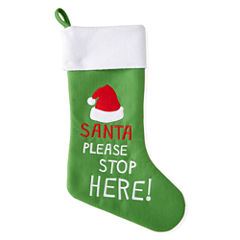 North Pole Trading Co. Santa Stop Here Stocking