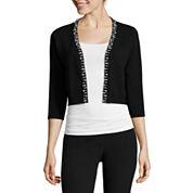 RN Studio by Ronni Nicole 3/4-Sleeve Pearl-Trim Sweater Shrug