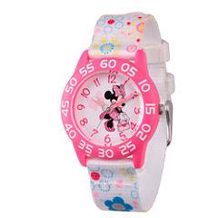 Disney Minnie Mouse Girls White Strap Watch-Wds000164