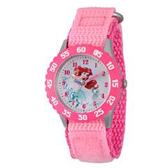 Disney Princess Ariel The Little Mermaid Girls Pink Strap Watch-Wds000201
