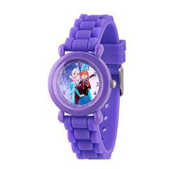 Disney Princess Anna And Elsa Frozen Girls Purple Strap Watch-Wds000226