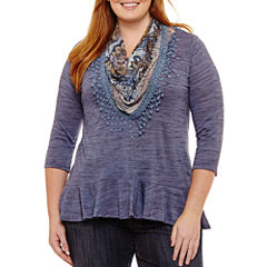 Unity World Wear 3/4 Sleeve Flounce Hem Knit Tee With Scarf - Plus