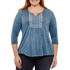 Unity World Wear 3/4 Sleeve Split Crew Neck Knit Blouse-Plus