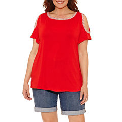 Liz Claiborne Short Sleeve Boat Neck T-Shirt-Womens Plus
