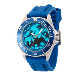 Discovery Expedition Mens Blue and Silver Rubber Shark Watch