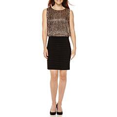 Scarlett Sleeveless Metallic Blouson Sheath Dress