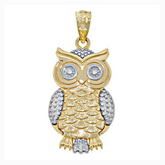 14K Two-Tone Gold Owl Charm Pendant