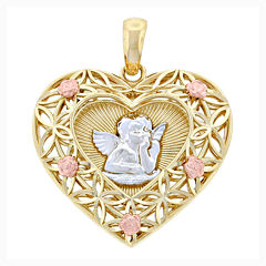 14K Tri-Color Gold Cherub Heart Charm Pendant