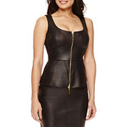 Bisou Bisou® Faux-Leather Zip-Up Bustier Top