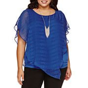 Alyx® Short-Sleeve Textured Asymmetrical-Hem Popover Top with Necklace - Plus