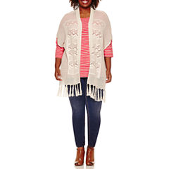 St. John's Bay® Crochet Cardigan, Striped Tee or Pull-On Jeggings