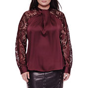 Worthington® Long-Sleeve Lace Woven Blouse - Plus