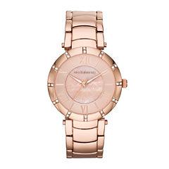 Liz Claiborne Womens Rose-Tone Logo Crystal-Accent Bracelet Watch