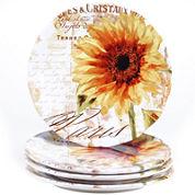 Certified International Paris Sunflower Set of 4 Dinner Plates
