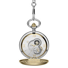 Claiborne Mens Two-Tone Pocket Watch
