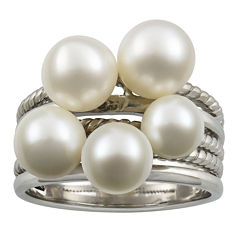 Cultured Freshwater Pearl Stacked-Look Sterling Silver Ring