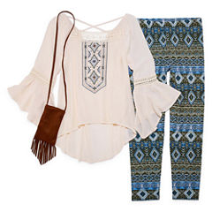 Knit Works Cross-Back Woven Top Legging Set - Girls' 7-16 and Plus