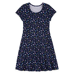 City Streets Short Sleeve Cap Sleeve Skater Dress - Big Kid Girls