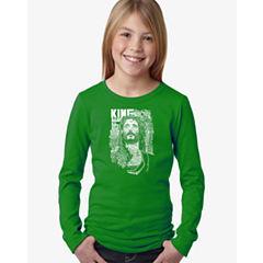 Los Angeles Pop Art Jesus Long Sleeve Graphic T-Shirt Girls