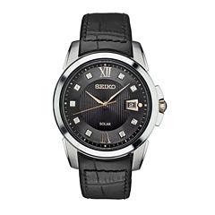 Seiko Mens Black Strap Watch-Sne427