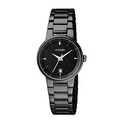 Citizen® Quartz Womens Black Ion Plated Calendar Bracelet Watch Eu6017-54E