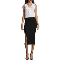 Worthington® Sleeveless Grommet-Yoke Top or Side Lace-Up Pencil Skirt
