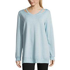 Flirtitude Cut Out Neck Sweatshirt-Juniors