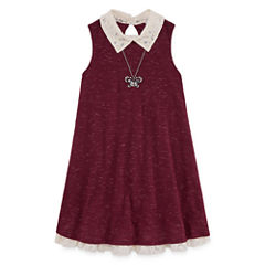 Knit Works Sleeveless Swing Dresses w/ Necklace- Girls' 7-16