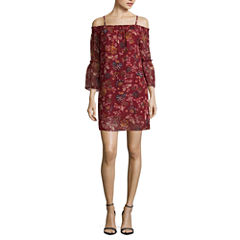 by&by Short Sleeve Floral Shift Dress-Juniors