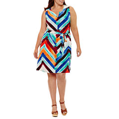 Luxology Sleeveless Geometric Sheath Dress-Plus
