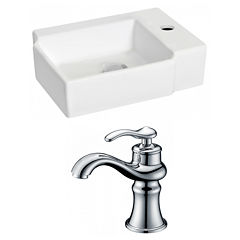 American Imaginations 16.25-in. W Wall Mount WhiteVessel Set For 1 Hole Right Faucet - Faucet Included