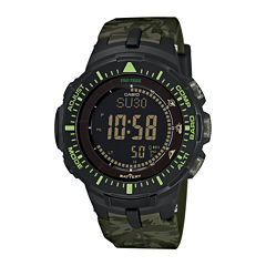Casio® Pro Trek Tough Solar Triple Sensor Mens Green Camo Sport Watch PRG300CM-3