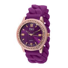 TKO ORLOGI Womens Crystal-Accent Chain-Link Purple Strap Silicone Stretch Watch