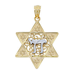 14K Two-Tone Gold Star Of David With Chai Charm Pendant