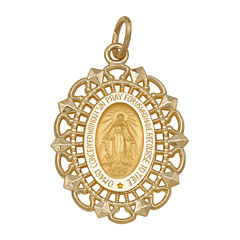 14K Yellow Gold Oval Framed Miraculous Medal Charm Pendant