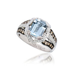 Grand Sample Sale™ by Le Vian® Sea Blue Aquamarine® & 1/2 CT. T.W. Vanilla Diamonds® and Chocolate Diamonds® in 14k Vanilla Gold® Chocolatier® Ring