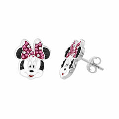 Disney Minnie Sterling Silver Crystal Stud Earrings