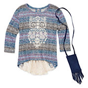 Beautees 2-pc. 3/4-Sleeve Top and Cell Phone Pouch Set - Girls 7-16