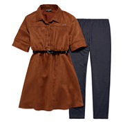 XOXO® 2-pc. 3/4-Sleeve Chambray Belted Top with Leggings Set - Girls 7-12