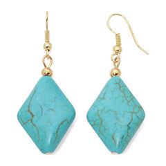 ROX by Alexa Aqua Stone Diamond-Shaped Drop Earrings