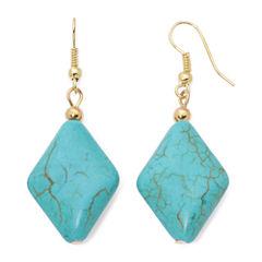 ROX by Alexa Aqua Stone Diamond-Shaped Drop Earrings