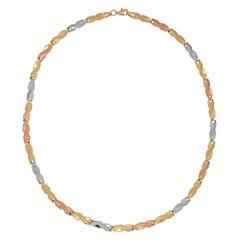 10K Tri-Color Gold 4.48mm Hollow Stampato Link Necklace