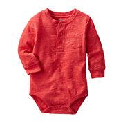 OshKosh B'gosh® Long-Sleeve Red Sunset Henley Bodysuit - Boys 3-24m