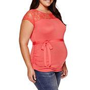 Maternity Sleeveless Lace-Yoke Tee - Plus
