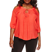 by&by Elbow-Sleeve Cold-Shoulder Crochet-Back Peasant Blouse - Plus